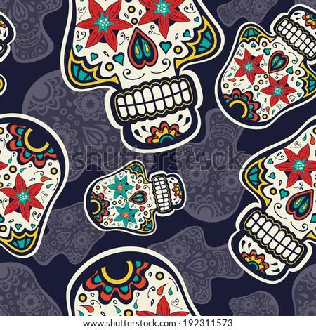 sugar skulls colorful seamless