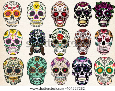 Sugar skulls set, Day of the Dead, Halloween Bundle