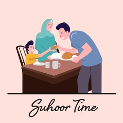 Suhoor and Iftar Party with Family During Ramadan Month Vector Illustration, Happy Fasting For Moslem, Eat Together With Moslem Family, Ramadhan kareem and Eid Mubarak