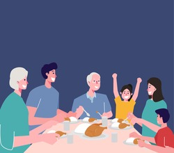Suhoor and Iftar Party with Family During Ramadan Month Vector Illustration, Happy Fasting For Moslem, Eat Together With Moslem Family, Ramadhan kareem and Eid Mubarak, Family Eat Dinner Together