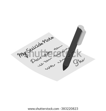 suicide note icon  isometric 3d