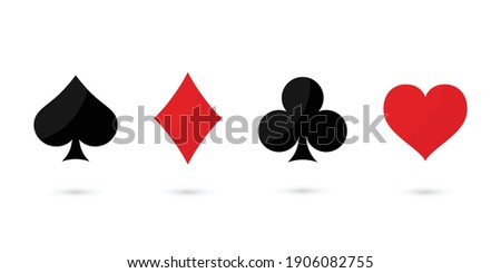Suit deck of playing cards on white background. Vector illustration. Zdjęcia stock ©