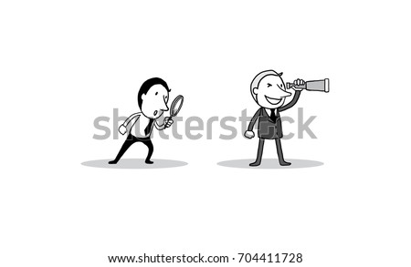 Suit man looking telescope and Businessman with a magnifying glass. vision success concept. isolated vector illustration outline hand drawn doodle line art cartoon design character.
