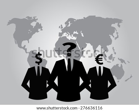 suit silhouettes with world map