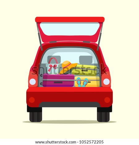 Suitcase, bags and other luggage in the trunk of the car on the back. Vector flat style illustration