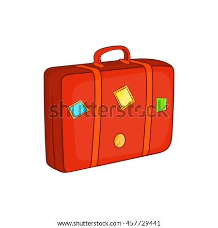 Suitcase icon in cartoon style isolated on white background. Suitcase for trip vector illustration