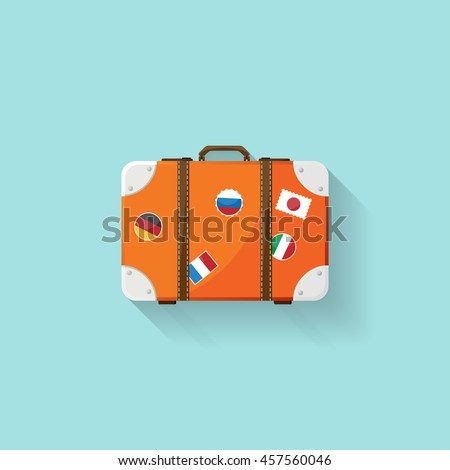 Suitcase in a flat style. Travel bag. Trolley for tourism. Luggage.Vector illustration.