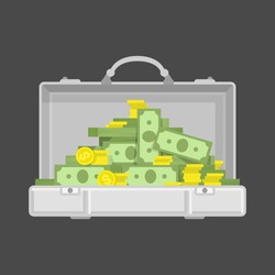 Suitcase money and golden coins vector illustration in flat style. Case with dollars Money concept isolated on white background.