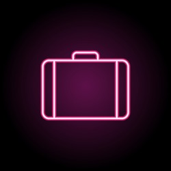 Suitcase neon icon. Simple thin line, outline vector of web icons for ui and ux, website or mobile application