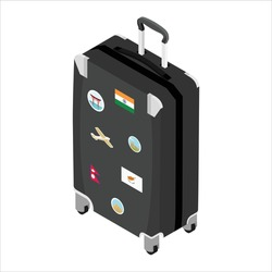 Suitcase of a traveler with travel stickers isometric view isolated on white background