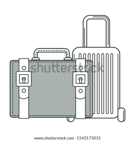 Suitcase on wheels and valise, isolated outline objects vector. Bags or carryon, baggage or luggage, summer vacation, journey or trip. Leather containers with handle and belts, traveling accessory