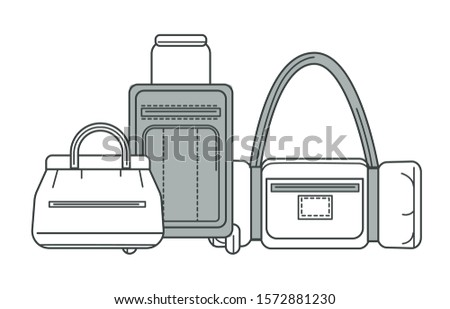 Suitcase on wheels and valise or sportbag, isolated outline icon vector. Baggage or luggage and carryon, summer vacation. Leather or textile containers with handle and belts, traveling accessory