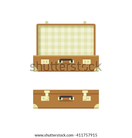Suitcase open, suitcase closed vector illustration isolated on white background, textured suitcase opened and closed, travel suitcases flat cartoon case design
