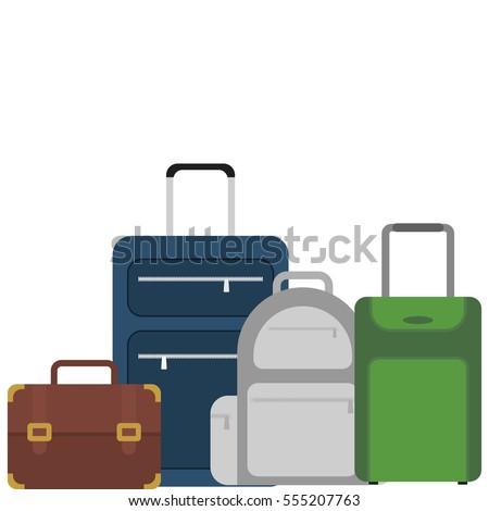 suitcase portfolio baggage luggage travel vector illustration eps 10