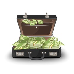 Suitcase staffed by dollar banknotes, leather case with cash
