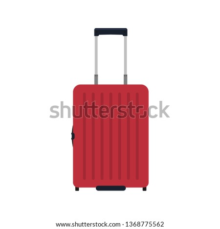 Suitcase travel front view vector icon. Baggage vacation bag isolated white. Journey handle brown trolley valise