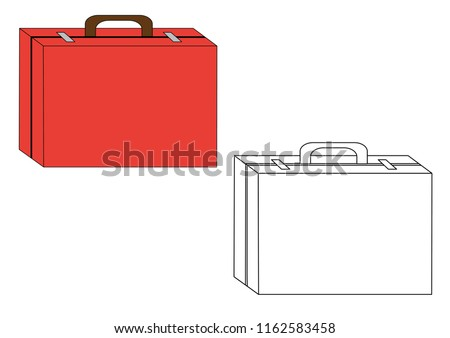 Suitcase (valise) colorful and in black and white colors, coloring page.