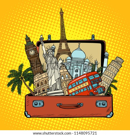 Suitcase with world landmarks.Tourism and travel concept. Comic cartoon pop art retro vector illustration drawing