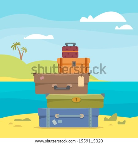 Suitcases and bags against the backdrop of the seascape, sea and palm trees. The concept of vacation, vacation and travel. Vector illustration in cartoon flat style.