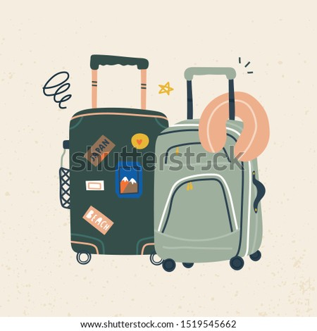 Suitcases with wheels. Luggage bag, suitcase, travel bag. Vacation, holiday. Hand drawn vector trendy illustration. Cartoon style. Flat design. Greeting card. Suitcases with various travel stickers