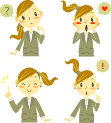 suits woman expression icon set
