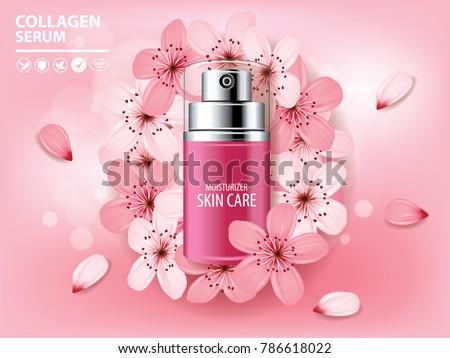 Sukura , cherry blossom collagen vitamin skin care cream , serum banner vector illustration