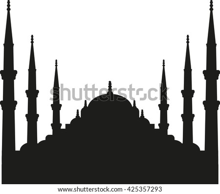 sultan ahmed mosque silhouette