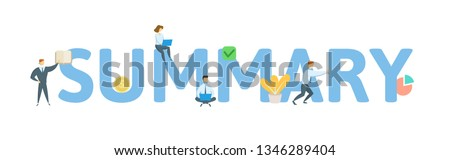 SUMMARY. Concept with people, letters and icons. Colored flat vector illustration. Isolated on white background. #1346289404