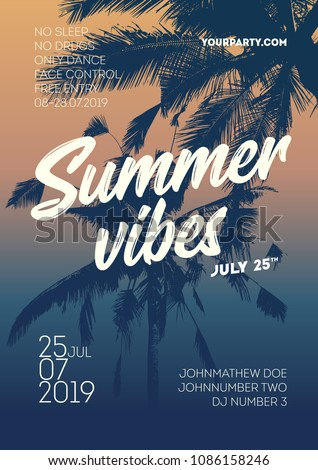 Summe vibes poster template. Invitation palm tree template flyer design. Tropical Sunset