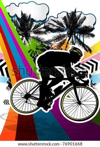 Summer abstract background design with cyclist silhouette. Vector illustration.