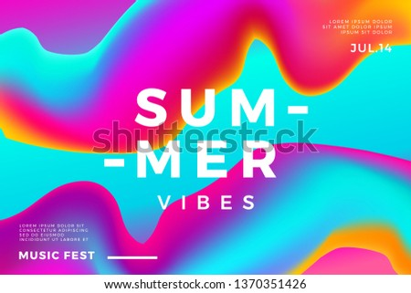 Summer abstract gradient background. Fluid colorful shapes composition. Music fest banner.