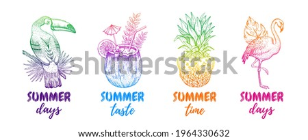 Summer abstract vector. Tropic summer poster background. Music memphis design graphic set. Fashion beach party art. Toucan coconut pineapple flamingo. Modern line t shirt illustration with font print