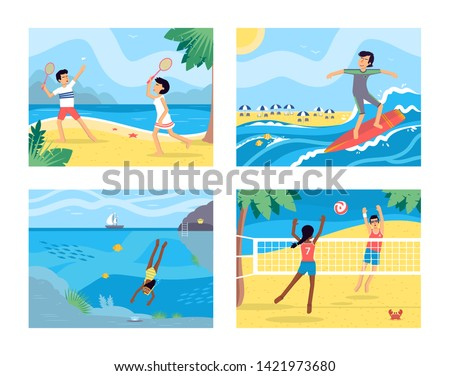 Summer activities flat vector illustrations set. Young men and women on vacation, tropical resort cartoon characters. Surfing, scuba diving, badminton and beach volleyball. Active summertime leisure