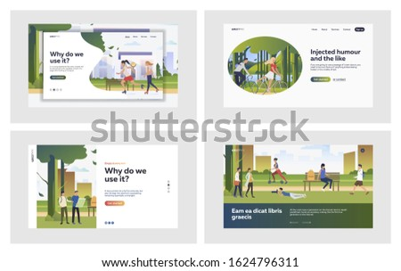 Summer activities outdoors set. Active people walking, riding bike, roller skating. Flat vector illustrations. Lifestyle, city park, leisure concept for banner, website design or landing web page