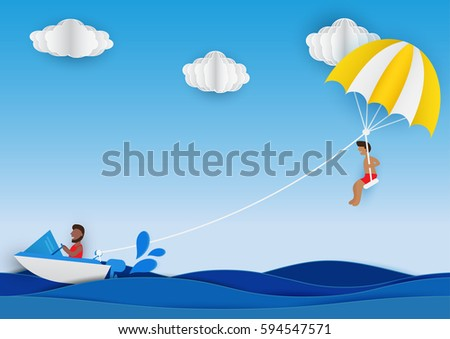 Summer activity. Man playing parachute at the sea in summer vacation. Design paper art style. Vector illustration.