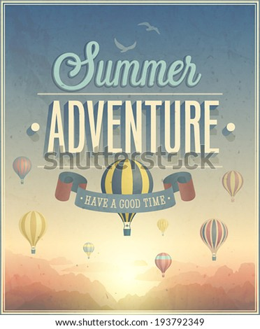 summer adventure poster. vector ...