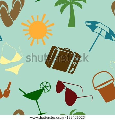 Summer and beach seamless pattern. Vector illustration