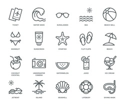 Summer and Holidays Icons,  Monoline concept The icons were created on a 48x48 pixel aligned, perfect grid providing a clean and crisp appearance. Adjustable stroke weight.