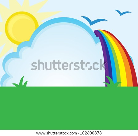 summer and spring background of cloud, sky, sun and rainbow