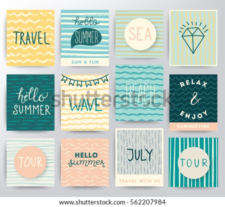 Summer and travel illustration set