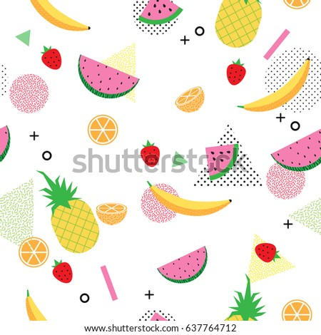 summer and tropical fruits on