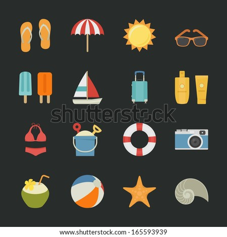 summer and vacation icons with