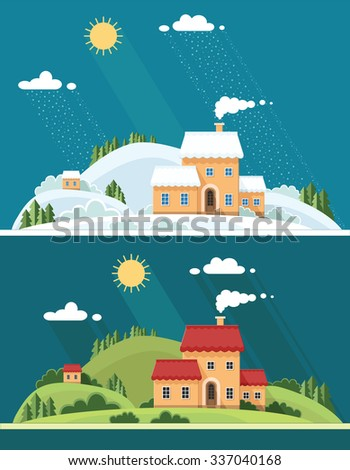 summer and winter landscape