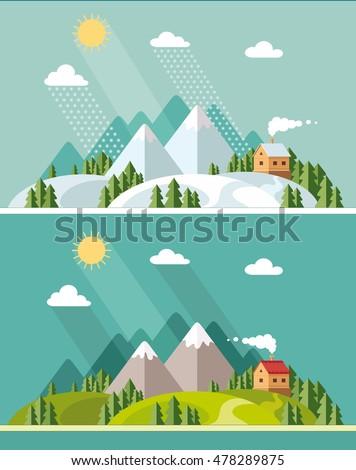 summer and winter landscape