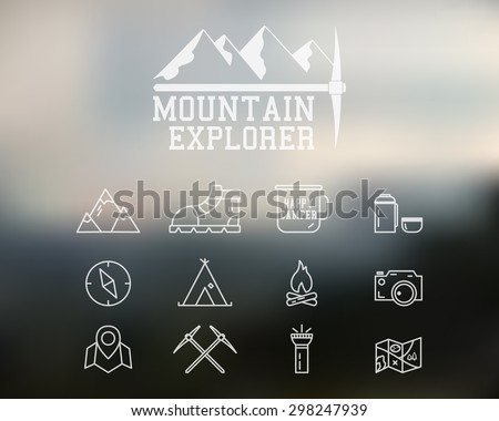 Summer and winter mountain explorer camp badge, logo template. Travel, hiking, climbing line icons. Thin and outline design. Outdoor. Best for adventure sites. On blurred background. Vector.