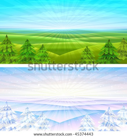 Summer and winter rolling sceneries with fir-trees (other landscapes are in my gallery)