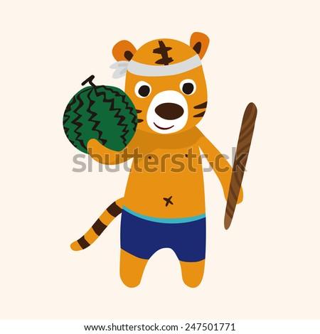 summer animal tiger, flat icon