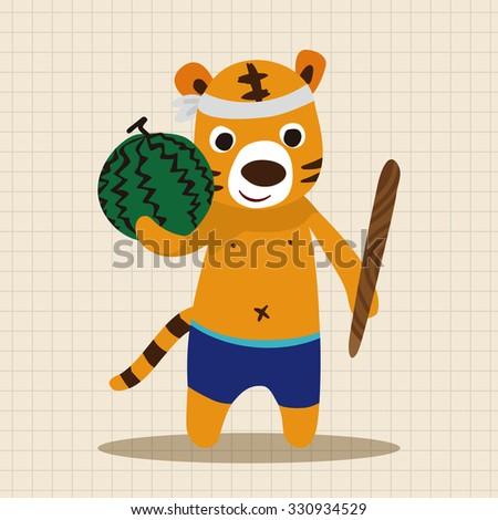 summer animal tiger flat icon elements background,eps10