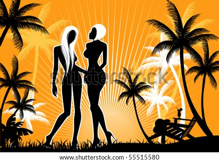 Summer backgraund with womens silhouette - stock vector