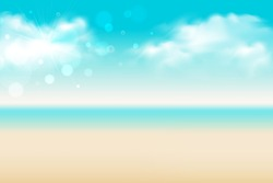summer background. abstract soft blue sky and beach blurred gradient background, vector illustration